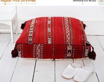 30% OFF Pouf Sale// 23''x23'' x 7'' Tribal Vintage Moroccan pouf, Red Berber pouffe, Floor cushion, Moroccan pouf, Floor pouf, Square Pouf