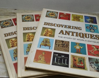 Discovering Antiques, 3 volumes, 1973, book set, collecting antique encyclopedia, vintage books