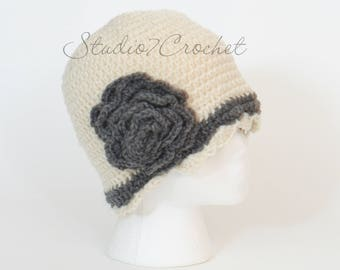 Flapper hat, cream with gray trim, teen/adult size