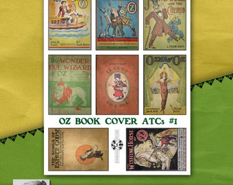 Oz Book Cover ATC Sheet #1, Vintage Printable, Instant Download, Childrens Book Illustration, Storytime, Wizard of Oz, Fairy Tales