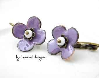 Syringa - lavender - enamel earrings - flower