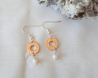 Simple Hammered Copper and Pearl Earrings