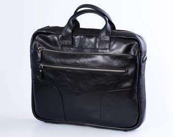 New Briefcase Leather briefcase 14 inch laptop bag Mens briefcase Cross body bag Laptop bag Leather messenger bag Leather satchel (63)