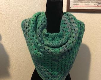 Classic Granny Crochet Triangle Scarf