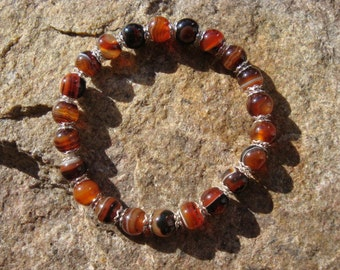 Brownish glass beads bracelet