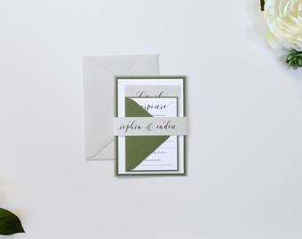 Sage Green Wedding Invitations, Green and Gray Wedding Invitations, Modern Wedding Invitations, Grey and Sage S022-Sophia