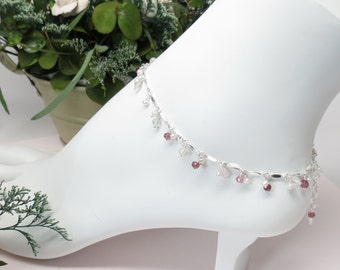 Rose Quartz Pink Tourmaline With Pearls Anklet, October Birthstone, Pink Gemstone Anklet In Sterling Silver, 9-10.25 Inches Length