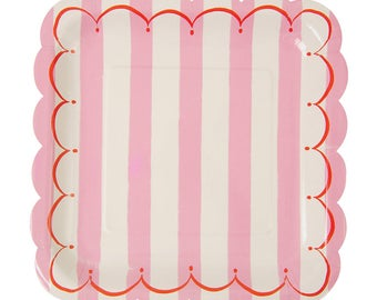Meri Meri pink white stripe red scallop border set of 12