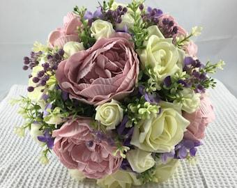 Artificial Blush Pink Peony, Lemon Rose, Lilac FLower & Foliage Brides Bouquet