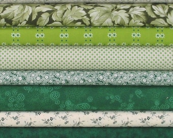 WEEKLY SPECIAL and Free Shipping! Green Blender Bundle of 8 Quarter Yard Cuts, Cotton Quilt Fabric Bundle on Sale