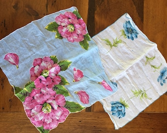 Pair of Vintage Floral Handkerchiefs