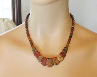 Stone Bead Necklace Picasso Jasper Genuine Stone Beads Ethnic Southwestern Tribal Necklace Southwest Jewelry Bohemian Jewelr