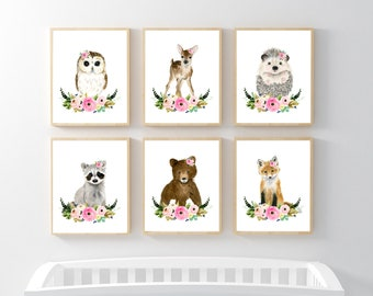Flower crown baby woodland animals,SET OF 6 PRINTS, Woodland animals print set, racoon, hedgehog fox, deer,owl,bear, nursery prints,