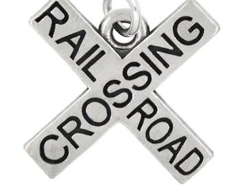 LGU® Sterling Silver Oxidized RailRoad Crossing Charm (With Options)