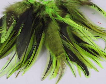 qty 50 lime Feathers badger saddle length 3  5 inches asb18