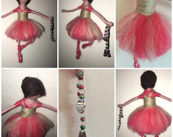 Magical Needle Felted Waldorf Style Ballerina with Glass Beads and ballet slipper/shoe charm
