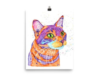 Original tabby cat watercolor customized art. Unique personalized engagement wedding present for cat lover owner. Bright vibrant gift ideas