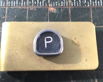 P typewriter key money clip