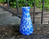 Blue Glass Vase with Feat...