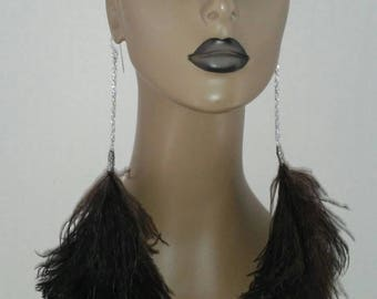 Fabulous Dangling Long Black Feather Earrings, Embellished with a Beautiful Silver Color Chain, Women Earrings, Feather Earring,