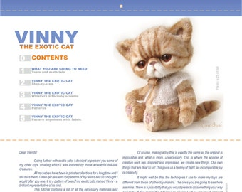 Vinny The Exotic Cat. A step-by-step tutorial with patterns.