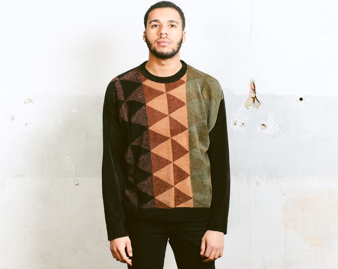 Vintage Brown Velvet Sweater . Men's Geometric Print Urban Sweater Mens Soft Sweater 90s Retro Clothing Dad Christmas Gift Idea . size Large