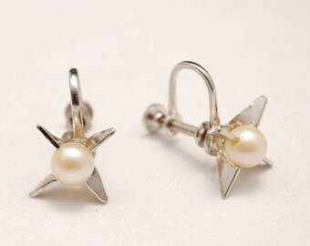 Vintage Sterling and Pearl Screw-Back Earrings - Star - Minimalist - Classic