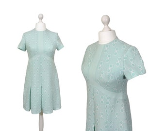 Seafoam Green Vintage Dress | UK 14 | Pale Green Dress | Short Sleeved Vintage Dress With Pleated Skirt