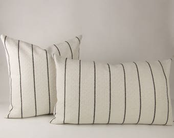 Cream & Black Striped Textured Pillow Cover // hand made home, throw pillow, black white, modern metal zipper, home decor, lumbar, boho