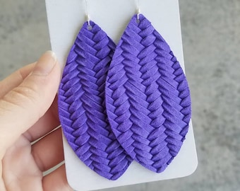 JUNE PROMO, Ultra Violet leather earrings, brinley and co