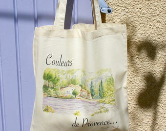 "Bag Tote bag 100% cotton organic illustration ""Colors of Provence"""