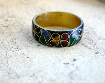 Vintage Chinese Brass Cloisonne Band Ring 1980-90