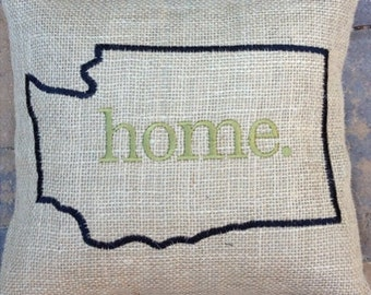 WASHINGTON on burlap - Embroidered Pillow