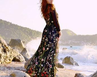 Black Embroidered Tulle Dress, Floral Dress, Maxi Boho Dress