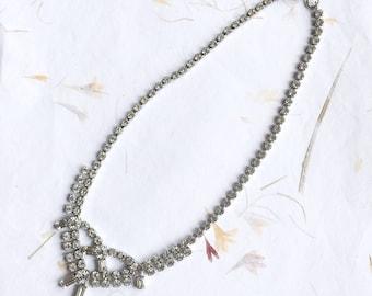Vintage crystal necklace, vintage crystal choker, vintage wedding, rhinestone necklace, bridal necklace