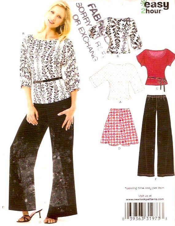 Stretch Knit tops skirt pants sewing pattern New Look 6816