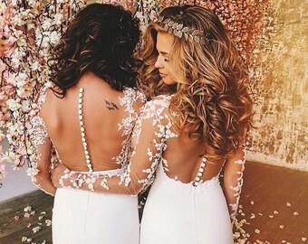 Lace Mermaid Wedding Dress,Wedding Dress Long sleeve, Bridal Gown, Mermaid Wedding Gown, Wedding Dress Mermaid, Bridal dress, unique wedding
