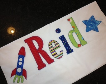 Name Pillowcase Rocket Ship Space Theme Embellished Pillowcase in Bright Primary Colors