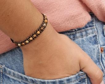 Women's bracelet, brown leather bracelet, 4 mm brown jasper Bracelet, 2 mm bronze tone beads bracelet, bohostyle bracelet, elegant bracelet