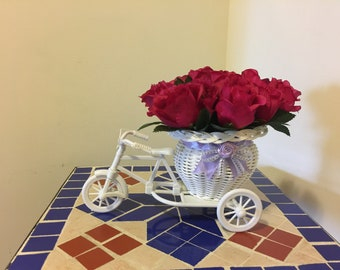 White Tricycle Bike Flower Basket