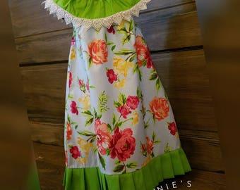 Green ruffle dress flowery