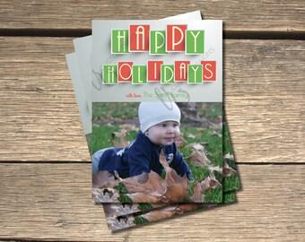 Happy Holidays Blocks Holiday Photo Card- 5x7
