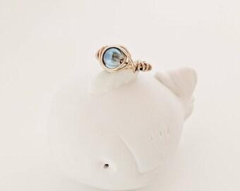 Golden Wire Beaded Ring,Wire Beaded Ring,Wire Ring,Handmade Blue Ring,Custom Ring,Wire Ring,Gold Wire Ring,Wire Wrapped Ring,Bohemian Ring