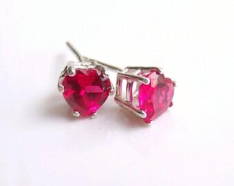 Ruby Stud Earrings Sterling Silver July Birthstone 6mm