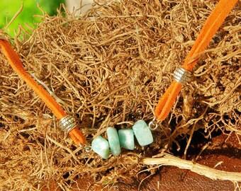 Amazonite Beaded Bracelet in Suede