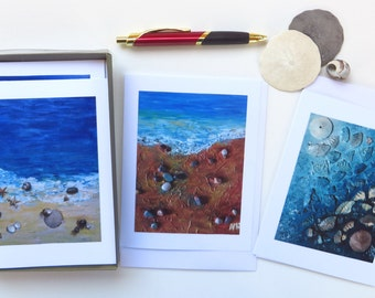 Pebbles - Sea life- Sand dollars - Ocean water - Seaside - Beach lovers - Mixed media art - Blank card set - Bring home the beach- Art cards