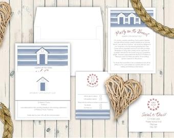 Blue and White Beach Hut Watercolour Wedding Invitation, Beach Wedding, Coastal Wedding, Seaside Wedding