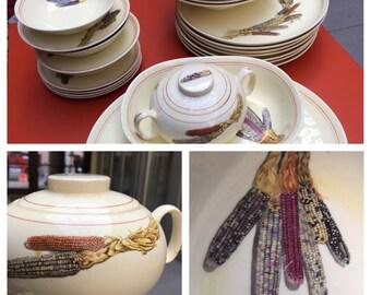 HTF Cavitt Shaw Creamware Dinnerware in Indian Corn Pattern with Serving Pieces