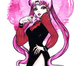 11x14 BLACK LADY Chibiusa Sailor Mini Moon Tribute Print