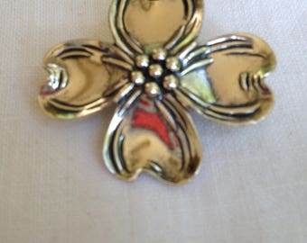 Dogwood Bloom Brooch or Pin in Sterling Silver